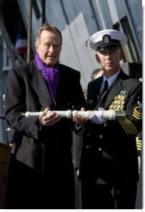 Pres. George H.W. Bush sets the watch